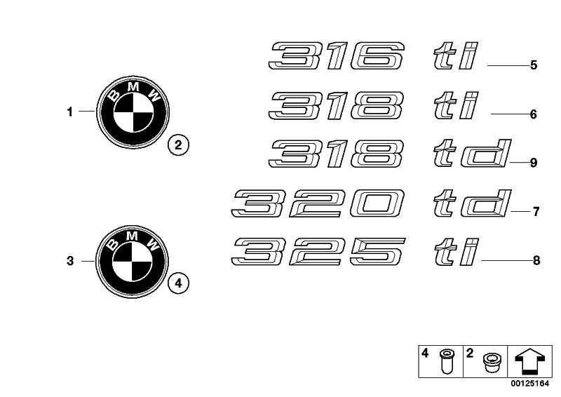 Emblem geklebt hinten 325TI           3er  (51147025183)