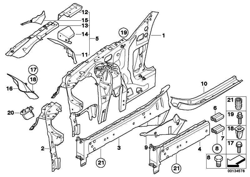 Teilabschnitt Motorträger links BASIS           5er 6er  (41117120883)