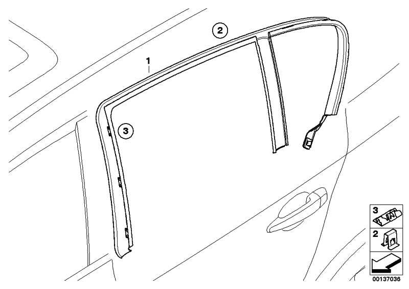 Abdeckung Fensterrahmen Tür hinten links  1er  (51357121155)