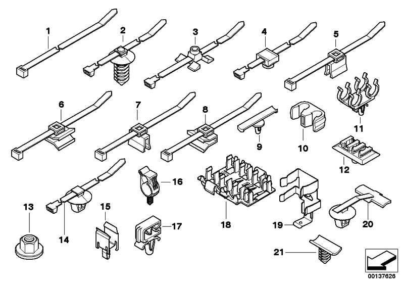Kabelhalter Bolzen  1er 3er 5er 6er 7er X1 X3 X5 X6 Z3 Z4 Z8 MINI  (61139224418)
