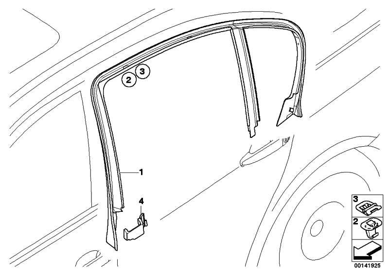 Abdeckung Fensterrahmen Tür hinten recht  3er  (51347060222)