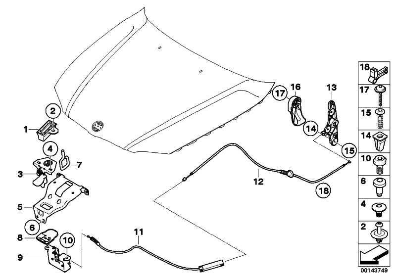 Bowdenzug Betätigung Frontklappe  3er X1  (51237184432)