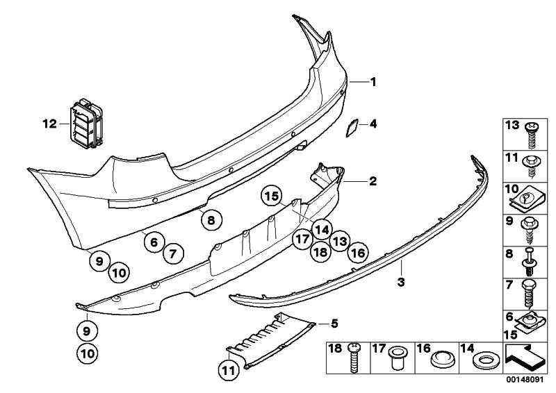 Verkleidung Stossfänger lackiert hinten CODE - UNI/MET. 1er  (51120032630)