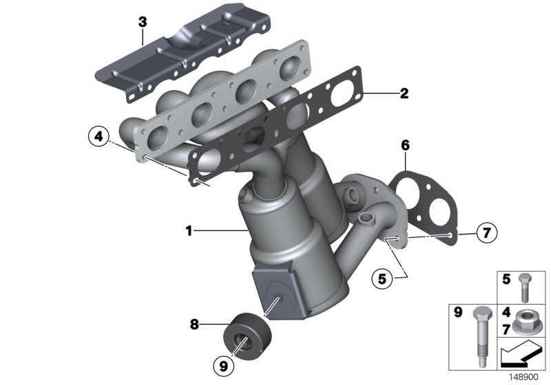 AT-Auspuffkrümmer mit Katalysator EU5             1er 3er X1  (18407599651)