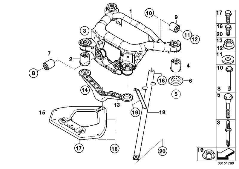 Gummilager hinten  1er 3er X1 X3 Z4  (33176770866)