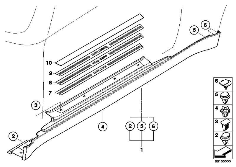 Abdeckung Schweller links SPORT           MINI  (51717124375)