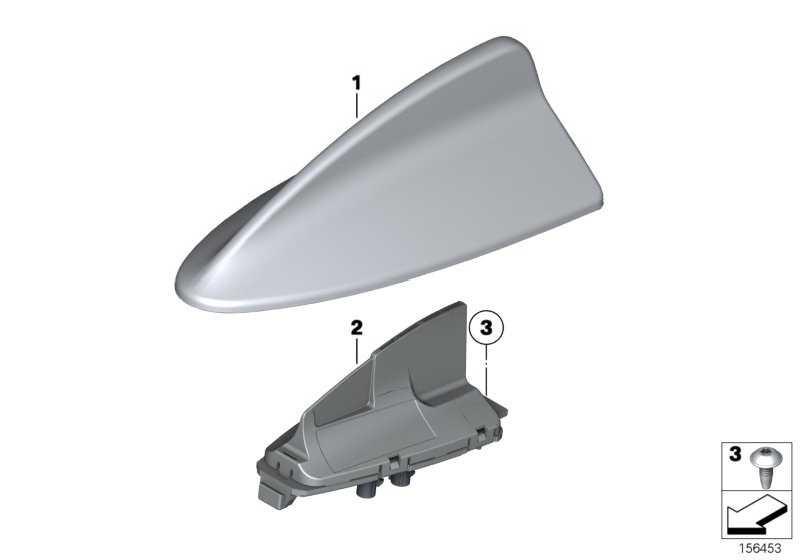 Leergehäuse Dachantenne lackiert CODE-UNI/MET.   1er 3er  (65202218150)