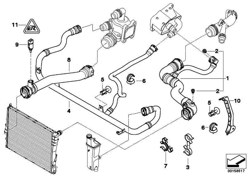 Wasserschlauch Rücklauf/Thermostat  3er  (17127516416)