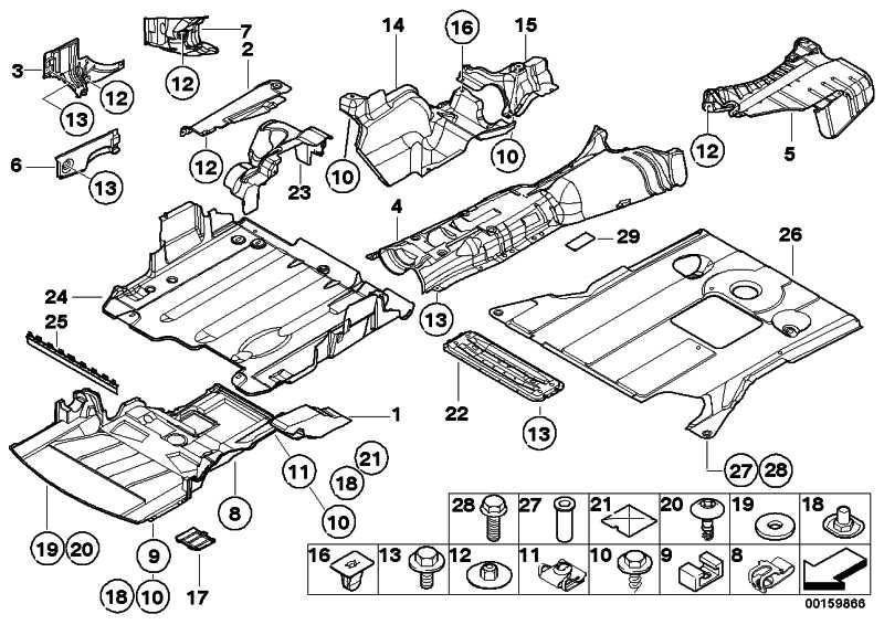 Abschirmung Motorraum vorne mit Absorber  3er  (51717039440)