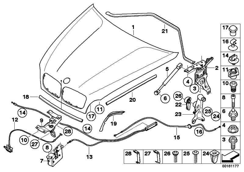 Bowdenzug Betätigung Frontklappe  X5 X6  (51237184456)