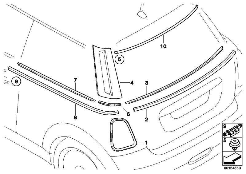 Einsatz Zierleiste Seitenwand hinten  MINI  (51372754857)