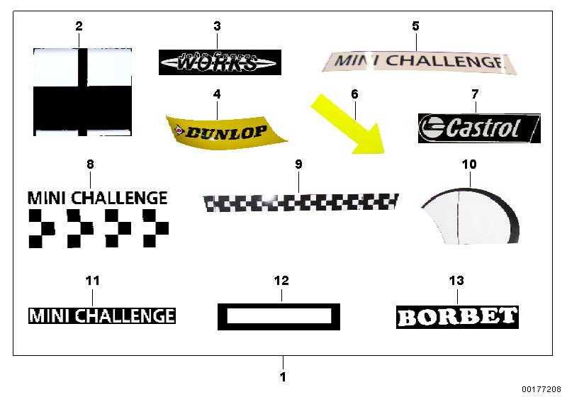 Aufkleber links MINI CHALLENGE MINI  (71608309017)