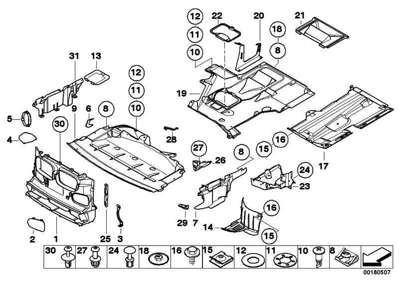 Abdeckung Motorträger hinten links  5er  (51718222129)