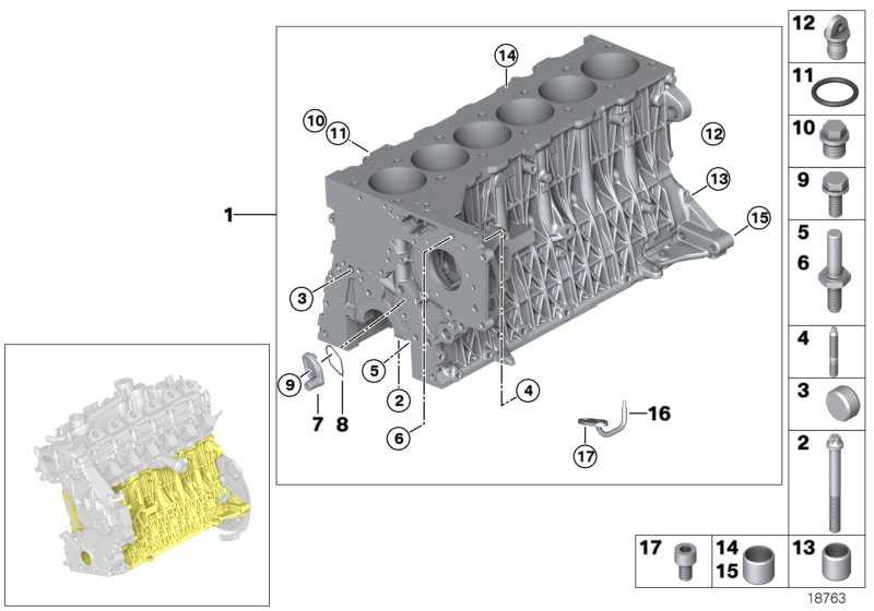 Zylinder-Kurbelgehäuse mit Kolben  3er 5er 6er X3 X5 X6  (11110415722)