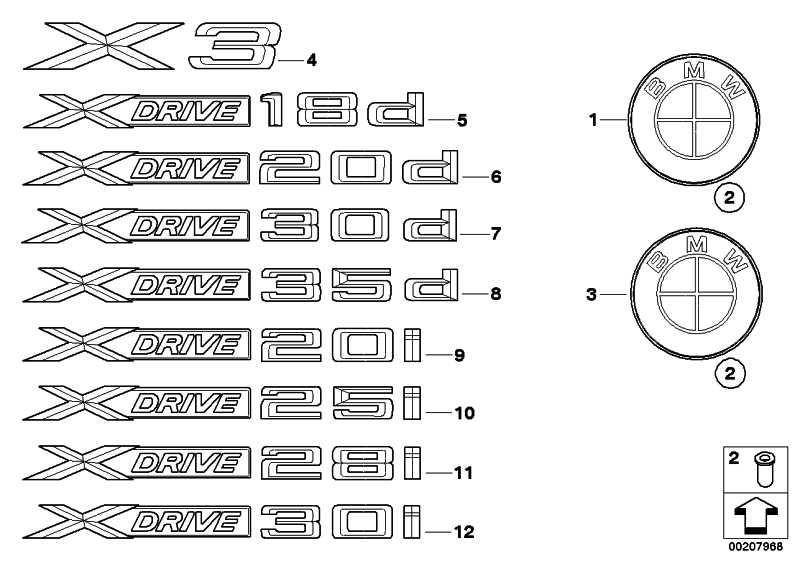 Schriftzug X DRIVE 20D     X1 X3  (51147362673)