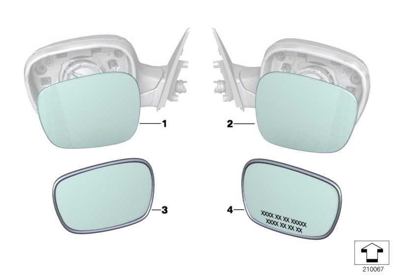 Spiegelglas beheizt plan links EC 1er 3er X1  (51167285009)