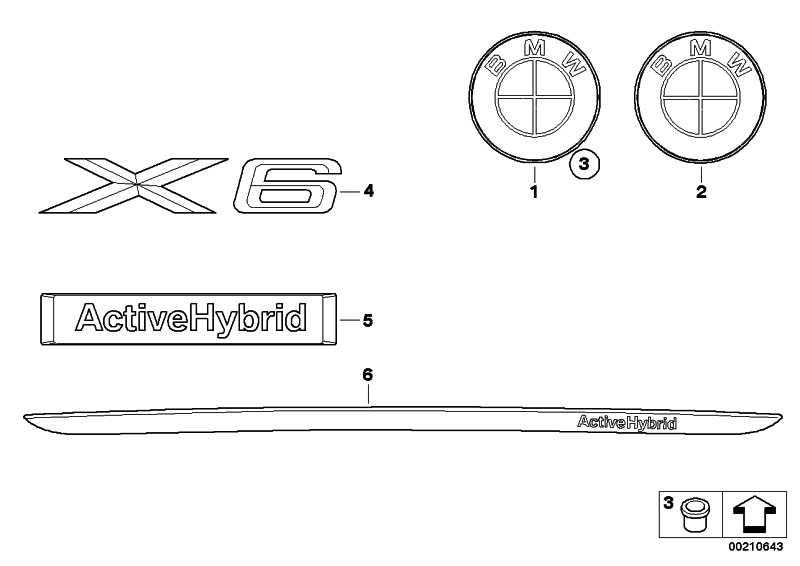 BMW Emblem hinten  X6  (51147196559)