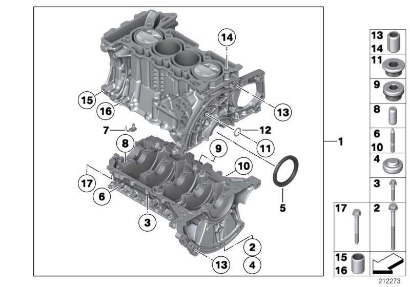 Zylinder-Kurbelgehäuse mit Kurbeltrieb  MINI  (11112305114)
