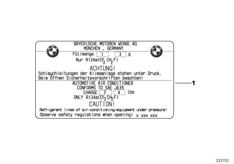 Hinweisschild Kältemittel 415+/-10G MINI  (64506916084)