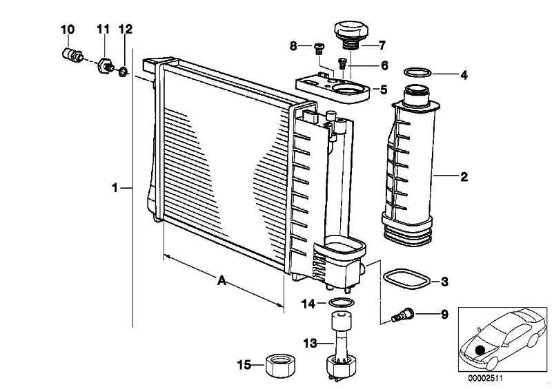 Wasserkühler A=520MM         5er  (17101728769)