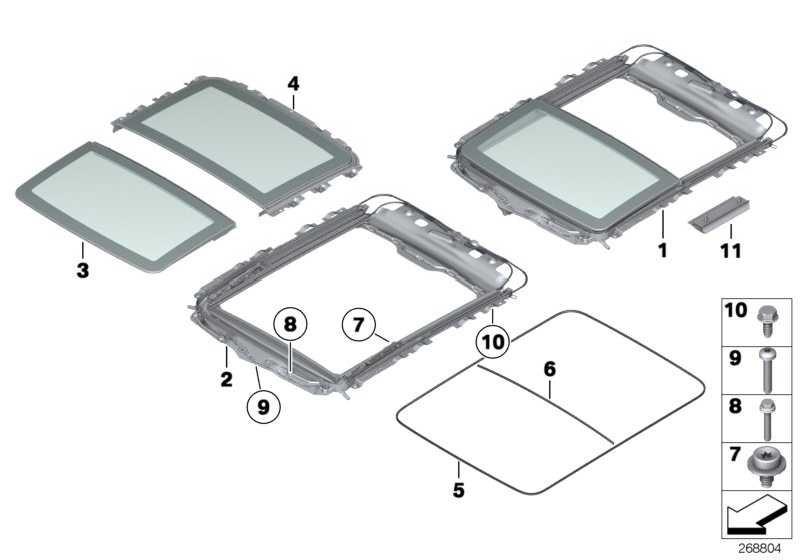 Panoramadach komplett Glas elektrisch ANTHRAZIT       5er  (54107203271)