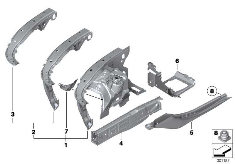Stützträger Radhaus vorne links BASIS           5er 6er  (41107261463)