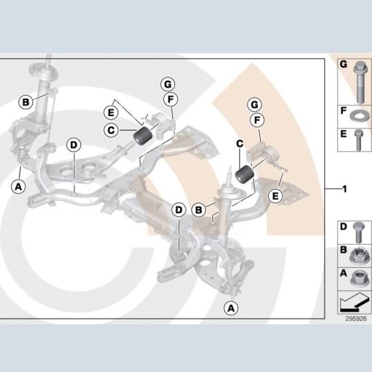 MINI Reparatursatz Gummilager Querlenker R50 R52 R53 ab 06/2001