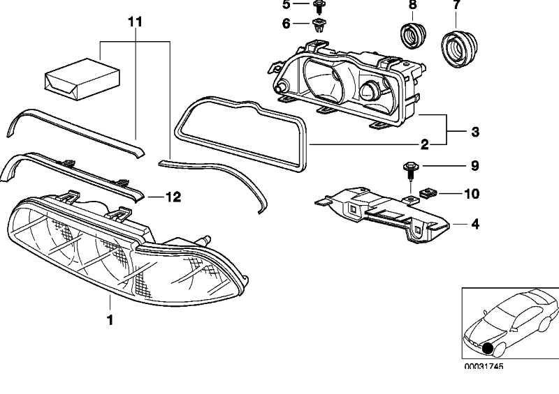 Scheinwerfergehäuse mit Einsatz rechts  5er  (63128377990)