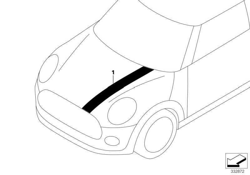 Zierstreifen JCW schwarz vorn rechts  MINI  (51147365190)