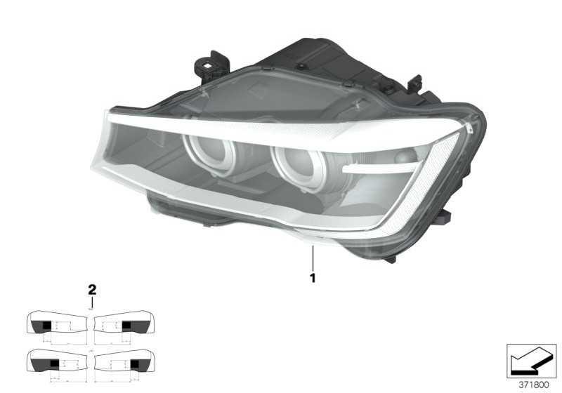 Scheinwerfer LED rechts  X3 X4  (63117401144)