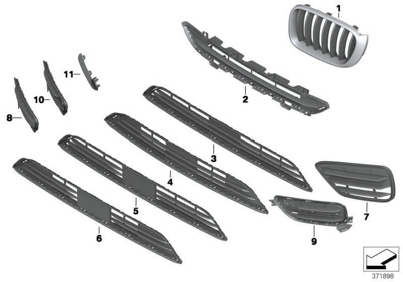 Ziergitter Front links CHROM/SCHWARZ X3 X4  (51117338571)