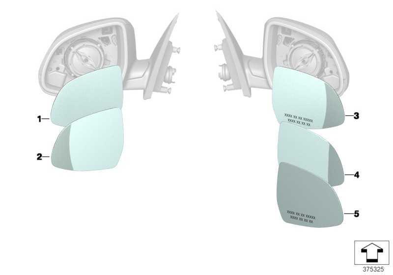 Spiegelglas beheizt Weitwinkel rechts EC              X5 X6  (51167291248)