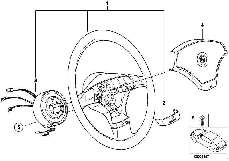 Sportlenkrad Leder Airbag 2 SCHWARZ         3er Z3  (32341093354)