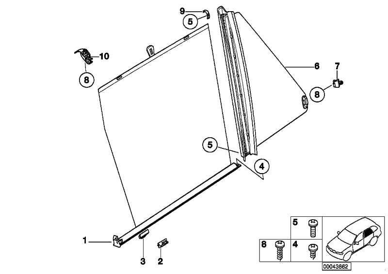Satz Haken Sonnenschutzrollo  X5  (51167155428)