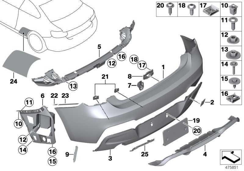 Verkleidung Stossfänger grundiert hinten -M-             2er  (51128055965)