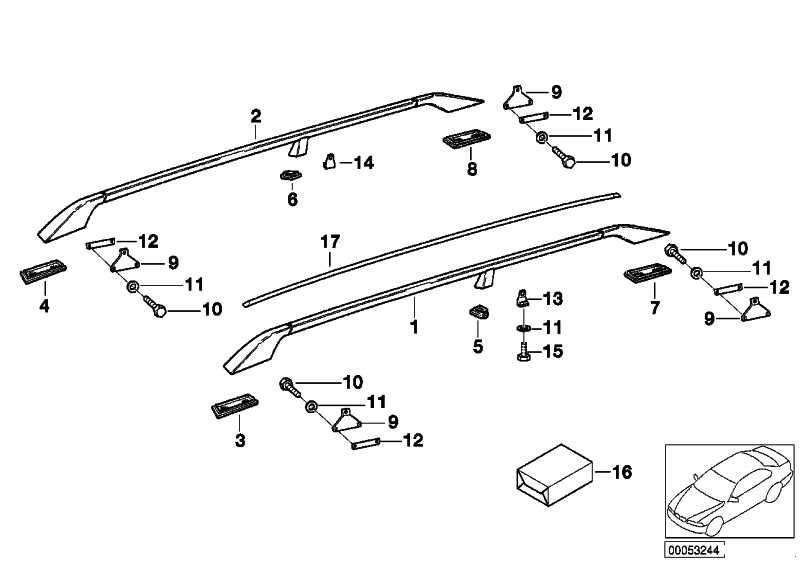 Unterlage Dachreling hinten links  7er 5er 3er X5 Z3  (51138203395)