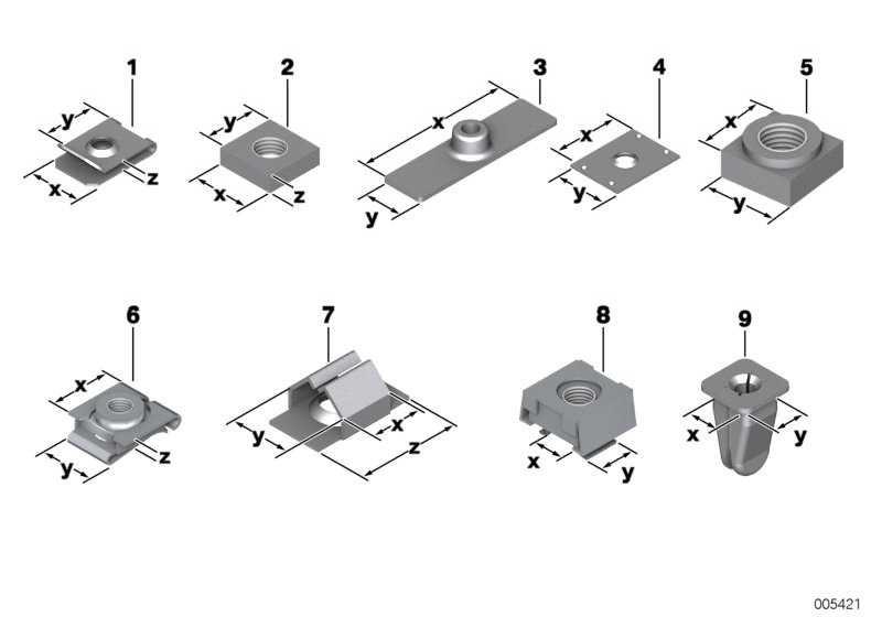 Blechmutter ST4,2-3-ZNS3    1er  3er 5er 6er 7er 8er X1 X3 X5 X6 Z1 Z3 Z4 Z8 MINI  (07129904221)