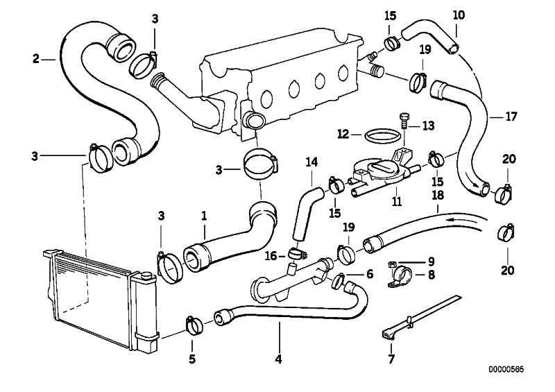 Schlauch Heizkörper-Motorrücklauf  3er  (64211387010)