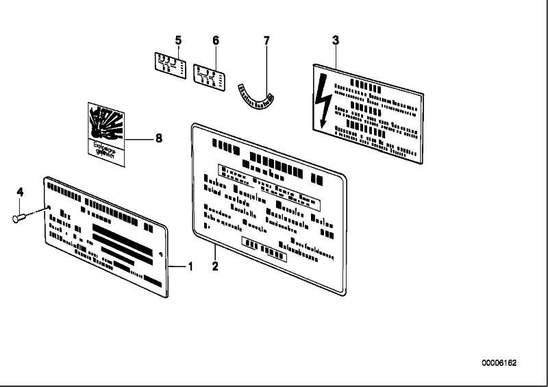 Hinweisschild Original BMW Teile D/ENGL/FR/ITA 3er 5er 7er 8er X1 X3 X5 X6 Z1 Z3 Z4 Z8  (51142121173)