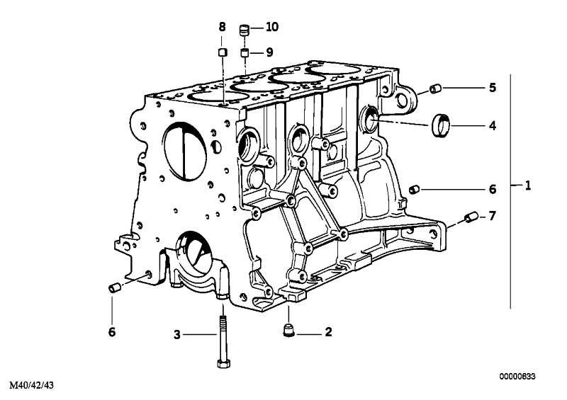 Zylinder-Kurbelgehäuse mit Kolben  3er  (11111739588)