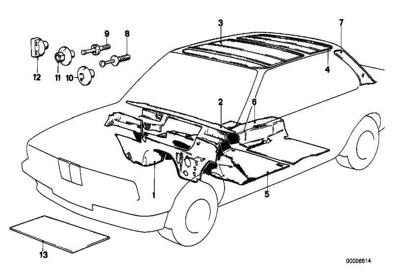 Schallisolierung Stirnwand Motorraum Li.  3er  (51481962045)