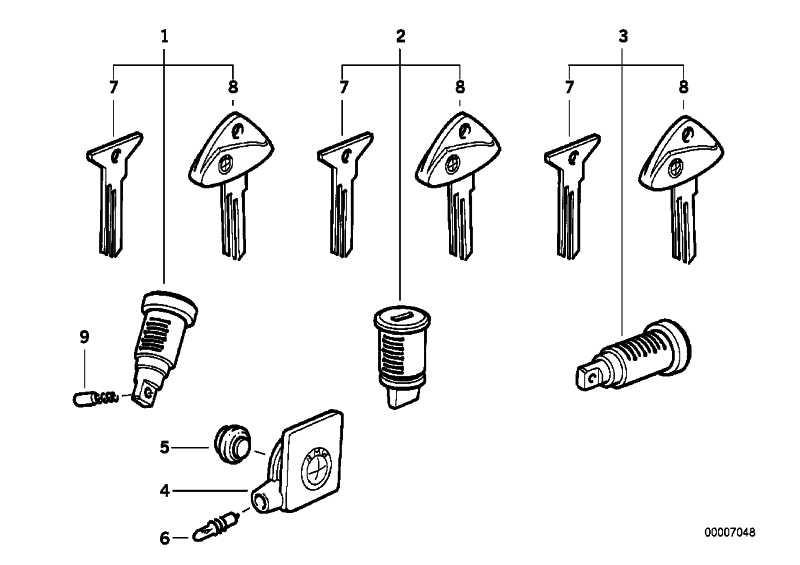 Schliesszylinder  K14 K30 K41 R13 259 259R 259C K589 R21 R22 R28  (51252313282)