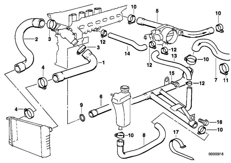 Schlauch Motorvorlauf-Heizkörper  Z3  (64218401809)