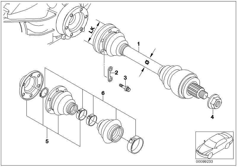 Austausch Abtriebswelle LK=94MM/D=38MM  5er 6er 7er  (33207572430)