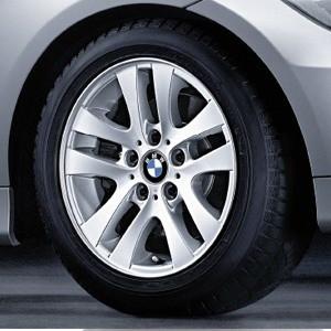 BMW Winterkompletträder Doppelspeiche 156 silber 16 Zoll 3er E90 E91 E92 E93