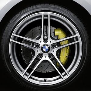 BMW Kompletträder M Doppelspeiche Performance 313 bicolor (ferricgrey / glanzgedreht) 18 Zoll 1er E81 E82 E87 E88 (ohne Performance-Schriftzug, mit M-Logo in der Mitte)