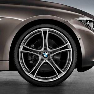 BMW Alufelge Doppelspeiche 361 7,5J x 19 ET 45 bicolor (ferricgrey / glanzgedreht) Vorderachse BMW 1er F20 F21 2er F22 F23