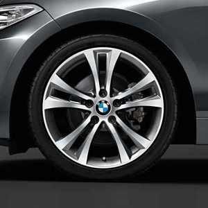 BMW Alufelge Doppelspeiche 384 bicolor (orbitgrey / glanzgedreht) 8J x 18 ET 52 Hinterachse 1er F20 F21 2er F22 F23