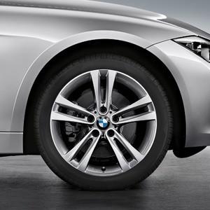 BMW Winterkompletträder Doppelspeiche 397 bicolor (ferricgrey / glanzgedreht) 18 Zoll 3er F30 F31 4er F32 F33 F36 RDCi