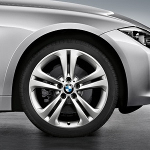 BMW Alufelge Doppelspeiche 401 8,5J x 19 ET 47 Silber Hinterachse BMW 3er F30 F31 4er F32 F33 F36